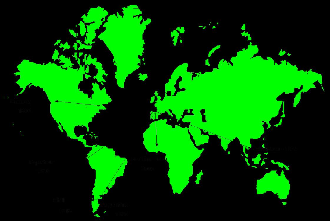 présence dans le monde carte